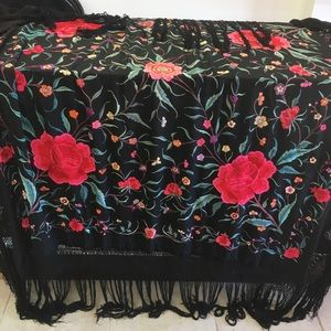 Antique Victorian floral tassel black piano shawl